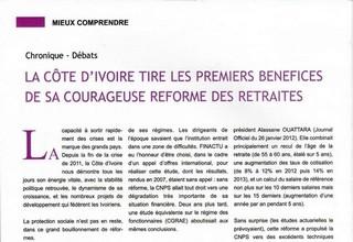 La Côte d'Ivoire tire les premiers bénéfices de sa courageuse reforme des retraites